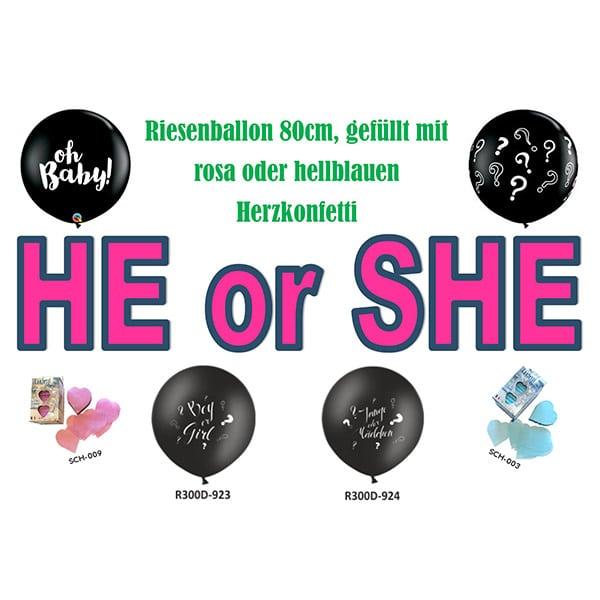 He or She Risenballon mit Herzkonfetti | Landanzeiger-Shopping