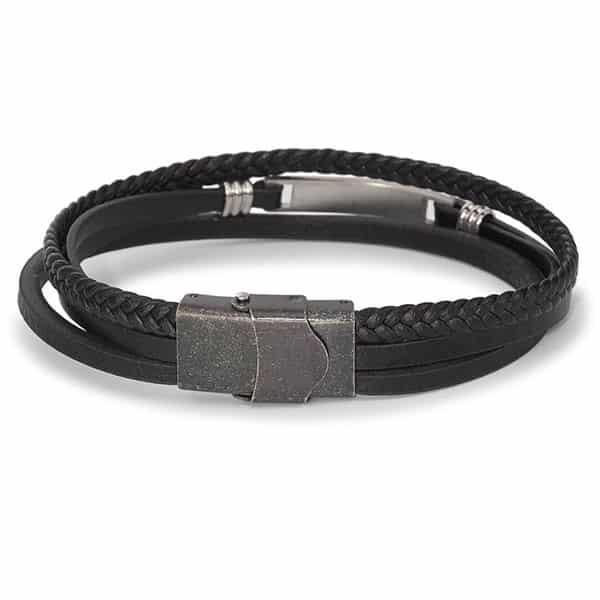 Armband Leder, Edelstahl 21 cm 02 | Landanzeiger-Shopping
