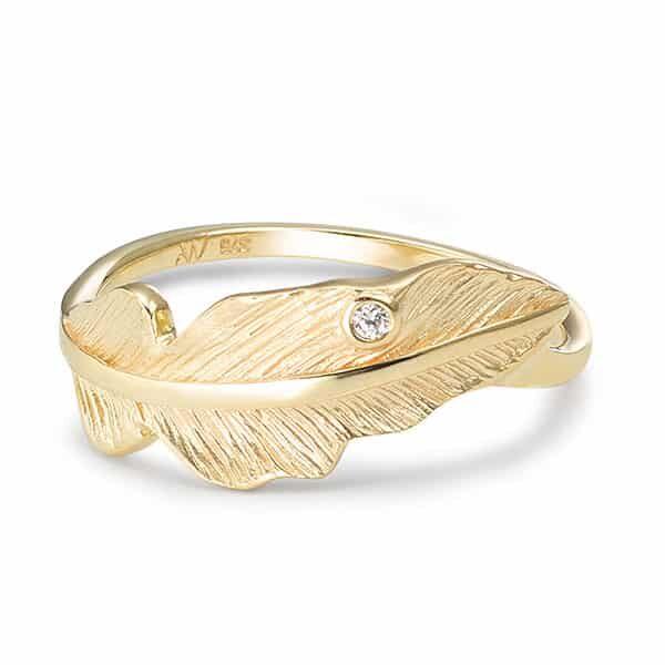 Fingerring 375/9 K Gelbgold Zirkonia Feder 02 | Landanzeiger-Shopping