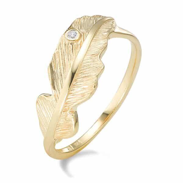 Fingerring 375/9 K Gelbgold Zirkonia Feder 01 | Landanzeiger-Shopping