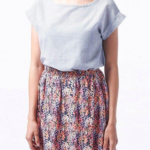 Wemoto Skirt Rations Printed Orange Navy Blue 02 | Landanzeiger-Shopping