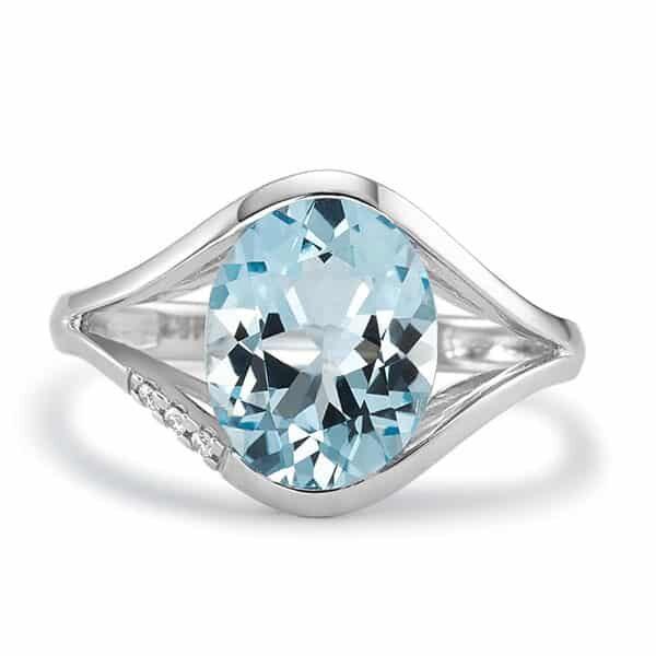 Fingerring 750/18 K Weissgold mit blauem Topas 02 | Landanzeiger-Shopping