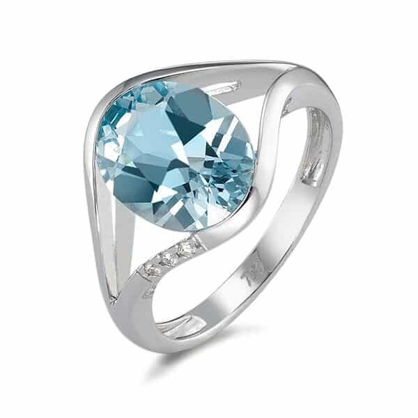 Fingerring 750/18 K Weissgold mit blauem Topas 04 | Landanzeiger-Shopping