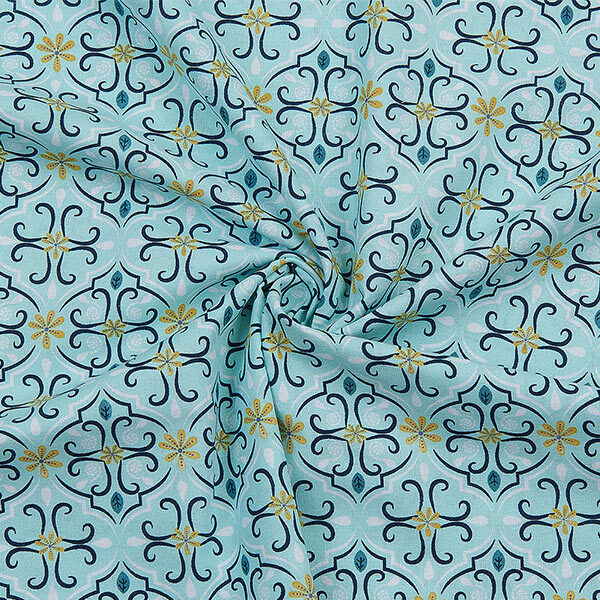 Bio-Baumwolle Stoff Ornamente mintgrün 02 | Landanzeiger-Shopping