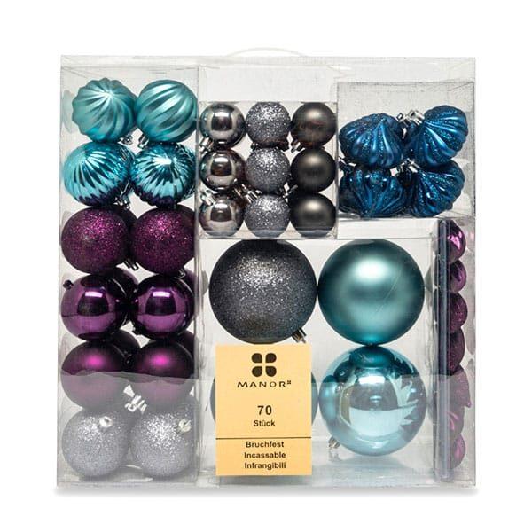 Weihnachskugelset blau/grau/grün/violett | Landanzeiger-Shopping