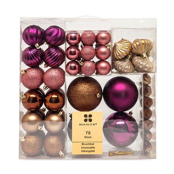 Weihnachskugelset kupfer/gold/rosa/violett | Landanzeiger-Shopping