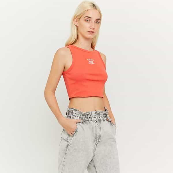 Top in orange mit Aufdruck 01 | Landanzeiger-Shopping