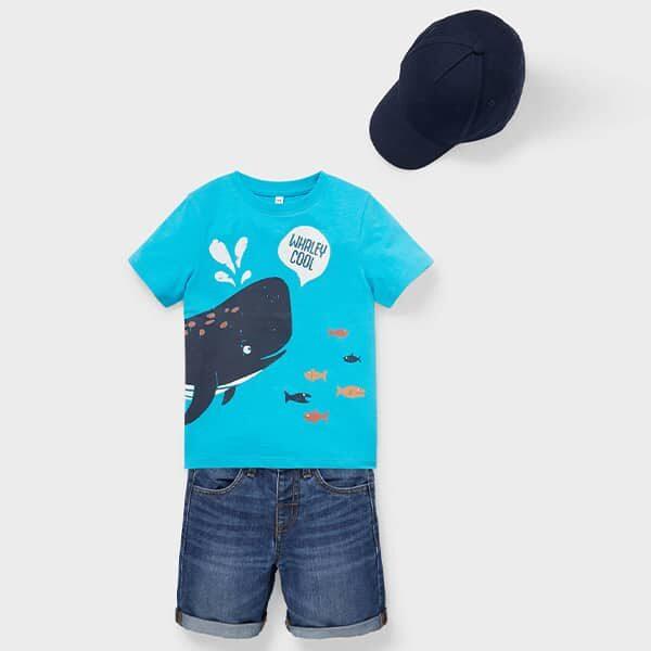 Set Kurzarmshirt Jeansshorts und Cap 01 |Landanzeiger-Shopping