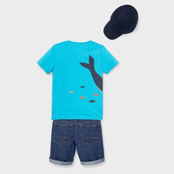 Set Kurzarmshirt Jeansshorts und Cap 02 |Landanzeiger-Shopping