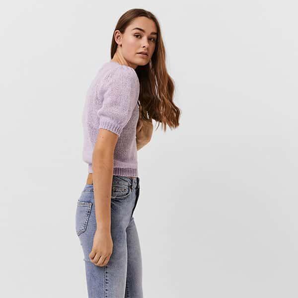 Strickpullover kurzärmelig lila Pastell 01 |Landanzeiger-Shopping