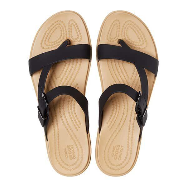 Crocs Tulum Toe Post Sandal black tan 02 |Landanzeiger-Shopping